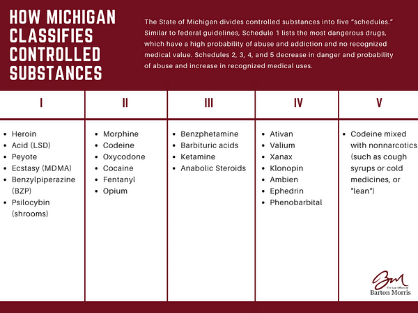 Michigan's Classification of Controlled Substances, Schedule I, Schedule II, Schedule III, Schedule IV, Schedule V