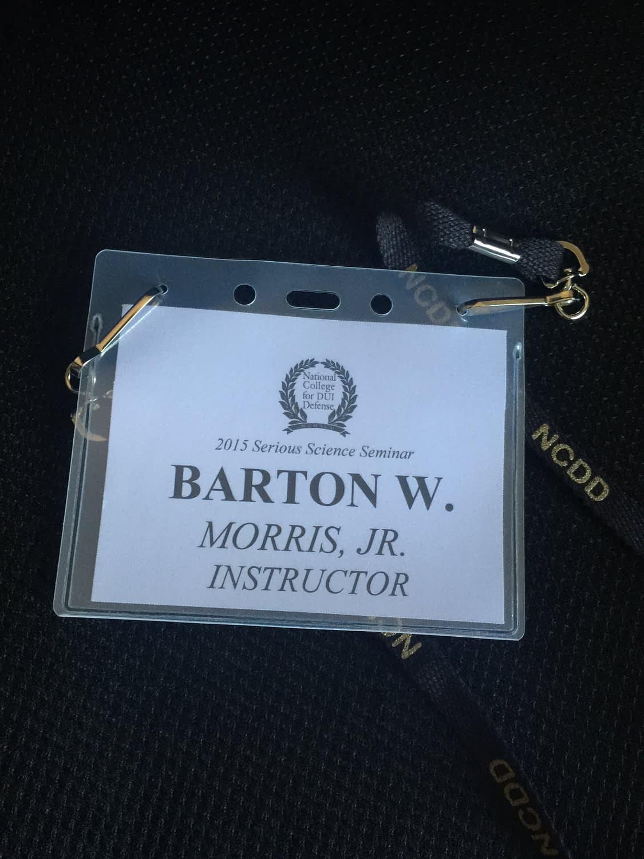dui defense lawyer Barton Morris name tag