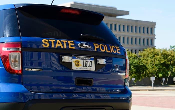 Michigan State Police Cruiser in Lansing, Michigan stock photo