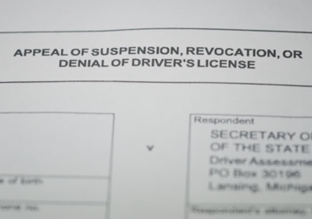 Michigan Drivers License Appeal